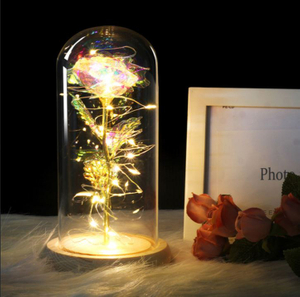 Artificial Eternal Rose LED Light In Glass Cover Home Decor For Valentine's Day